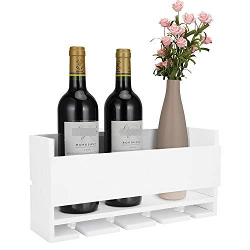 Vencipo Estantería de Vino de Pared de Madera para Organizador 4 Copas Vino Almacenaje, Estante Flotante Decoracion para Cocina de Armarios Vino, Blanco Botelleros Vino Accesorio para Sala de Estar.