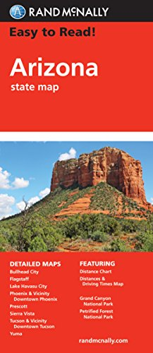 Easy To Read: Arizona State Map (STATE HIGHWAYS) -  Rand McNally