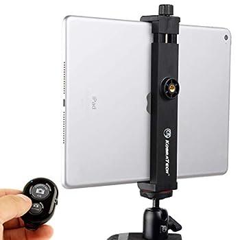 KobraTech iPad Tripod Mount - TabMount 360 Tablet Tripod Mount - iPad Holder for Tripod with Ball Head & Bluetooth Remote Shutter