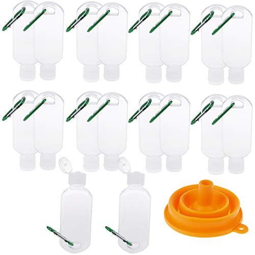 18pcs Botellas de viaje con llavero botella de gancho, 2oz/50ml Botella de plástico Flip Contenedores recargables vacíos (verde)