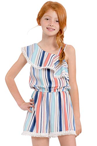 Truly Me, Big Girls' Designer Spring/Summer Romper with Ruffle Details, Size 7-16 (Multi, 14)