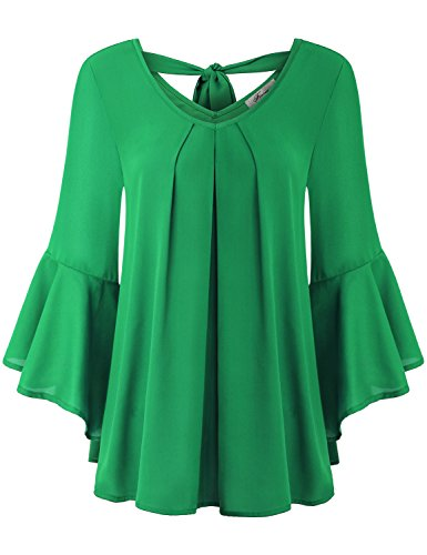 Ladies Tops and Blouses, Women's V Neck Blouse Trendy 3/4 Ruffle Bell Sleeve Pleated Front Solid Colored Flows Breezy Sleeky Chiffon Tunic Dress Shirt Green M