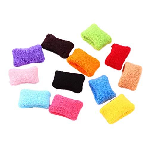 CADANIA 12Piezas Mujeres Niñas Toallas Anchas Gomas para el Cabello de Colores Brillantes Pulsera Deportiva