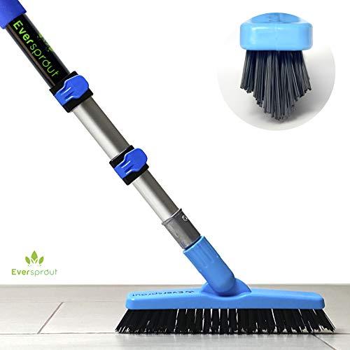 EVERSPROUT 1.5-to-3.5 Foot Grout Brush Scrubber Pro w/Long Handle Pole | Stiff V-Shape Bristles Built for Corners & Tough Grime | Swivel Design Cleans Shower Tile, Kitchen, Bathroom, Outdoor Concrete