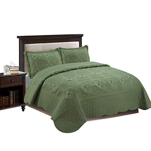 marcielo 3-teilig komplett gesteppt Stickerei Quilts Tagesdecken Bettwäsche coverlets, Set Emma, Textil, olivgrün, Queen