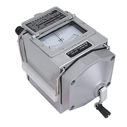 Resistance Meter, Portable Hand Crank Insulation Resistance Tester, Transformer Telecommunication for Cables Motors(ZC25-3 500V plastic case)