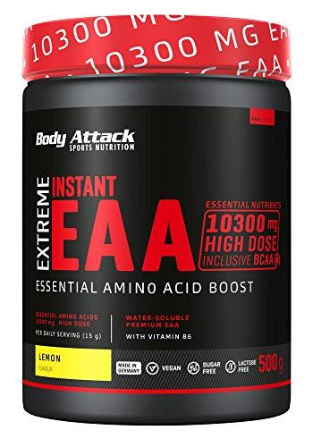 Body Attack Extreme Instant EAA Pulver - 500g, extrem Lecker, sofort löslich, vegan, 8 essentielle Aminosäuren hochdosiert - 10300mg EAAs pro Shake, Made in Germany, Lemon