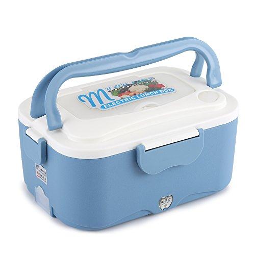 Fdit elektrische lunchbox voor de auto, draagbaar, elektrisch, mini-radiator, thermobox, voor op reis, voor de sociale EU, blauw, 24 V