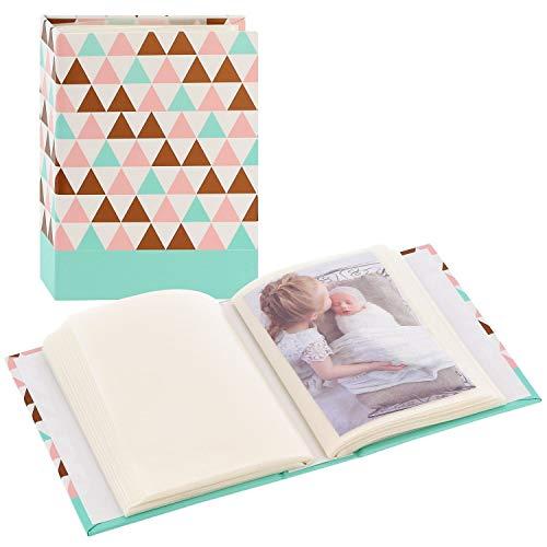 """Hama Album photo vierge Minimax """"Designline"""" (album photo traditionnel format 13 cm x 16,5 cm, pour 100 photos 10 cm x 15 cm, 100 pages, triangle) Blanc/Marron/Turquoise/Rose"""