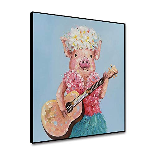 Yongto Piggy Playing Guitar Canvas Wall Art Prints Unframed Watercolor Animals Anime Room Decor Canvas Oil Painting Poster Cute Pig Pet Pictures Modern for Living Room Children Room 20x20 Inch