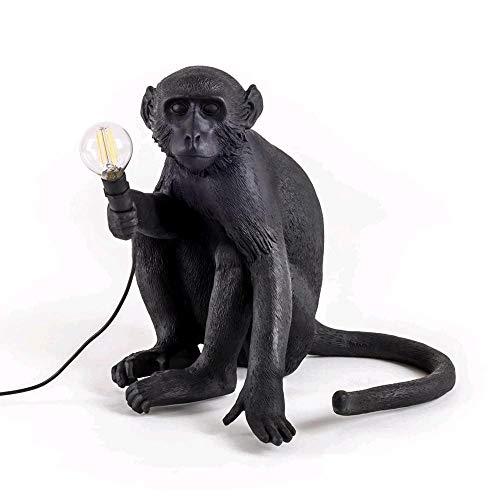 Seletti Lampe Singe assis en résine, Noir, 45 x 39 x 36 cm