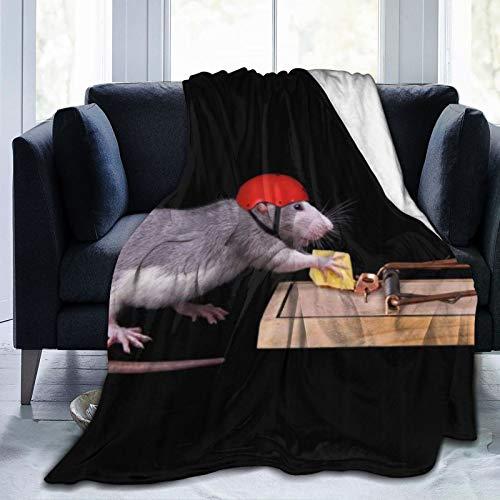 QIUTIANXIU Mantas para Sofás de Franela 150x200cm Cómic Divertido Animal Rata ratón con Sombrero Rojo Robar Comida en la ratonera para niños Negro Gris Manta para Cama Extra Suave
