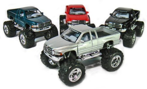 Set of 4: 5' Dodge Ram 4x4 Monster Truck 1:44 Scale (Black/Green/Red/Silver)