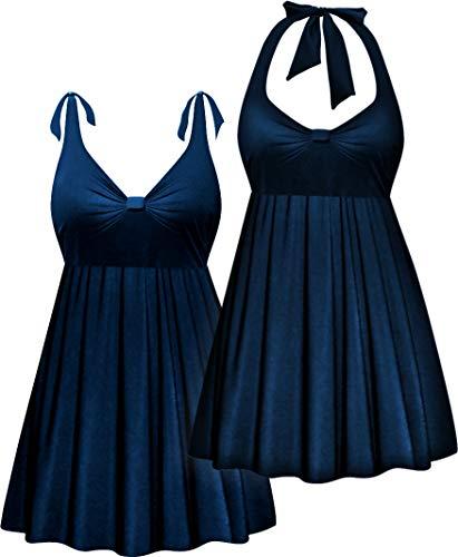Navy 2 Piece Halter Style Plus Size Swimdress & Bottoms 8X