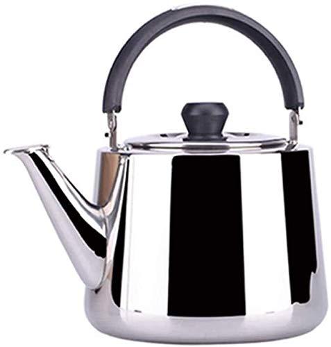 Bouilloire induction Cuisinière théière sifflet eau chaude droite en acier inoxydable plat à fond gazeux cuisinière à gaz d'induction Silver pour bureau extérieur WHLONG (Size : 3L)