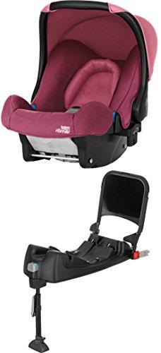 Britax Römer Baby-Safe, Babyschale Set Gruppe 0+ (Geburt - 13 kg), Kollektion 2019, inkl. Isofix-Station, wine rose
