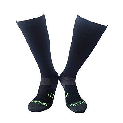 HyperShellz Waterproof Socks for Outdoor Sports Running Cycling Hiking Unisex Knee High Merino Wool Socks for Men & Women (Black-Green, X-Large)
