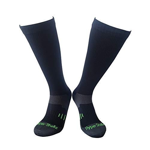 HyperShellz Waterproof Socks for Men & Women Knee High Length (Black-Green, Medium)