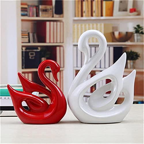 GAOSHUI Adornos De Escritorio Mini Decorativos Modelo Resinanordic Ins Ceramic Swan Pattern Decoration A Pair of Porcelain Swans Ornaments Home Cabinet Crafts Multi-Color Couple Swan