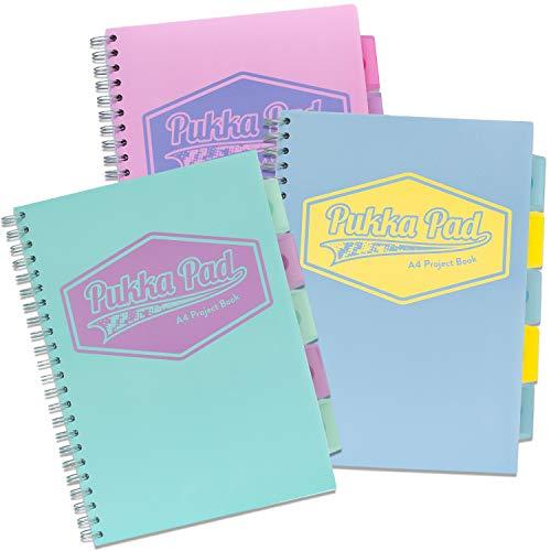 Pukka Pad 8630-PST Projektbuch, A4, Spiralbindung, liniert, 80 g/m², Pastellfarben