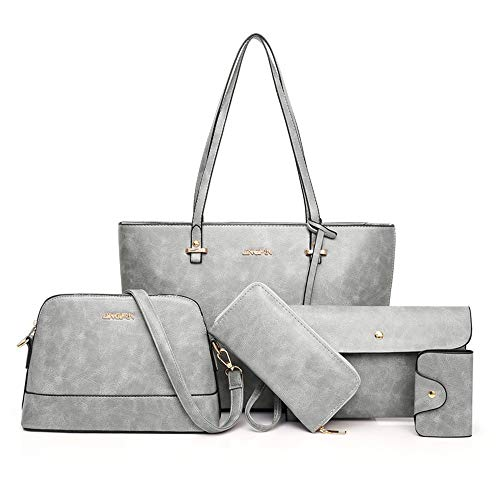 AlwaySky Handtaschen-Set für Damen 5er Pack Tote Geldbörse Handtaschen Set PU-Leder Schulranzen Umhängetasche Brieftasche Kartenhalter Taschenset, Grau
