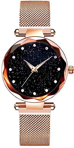 Reloj de cuarzo de cristal estrellado para mujer, banda magnética, cuarzo clásico, reloj de pulsera de actividad de negocios con diamantes