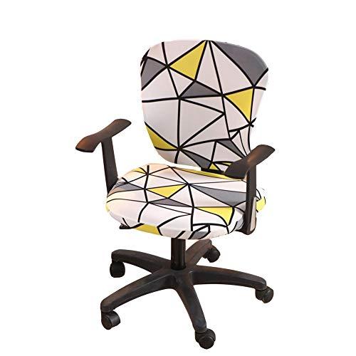 wonderfulwu Cubierta de silla de computadora de oficina, cubierta de silla de spandex elástico dividido cubierta de silla rotar cubierta protectora de silla, triángulo blanco y amarillo