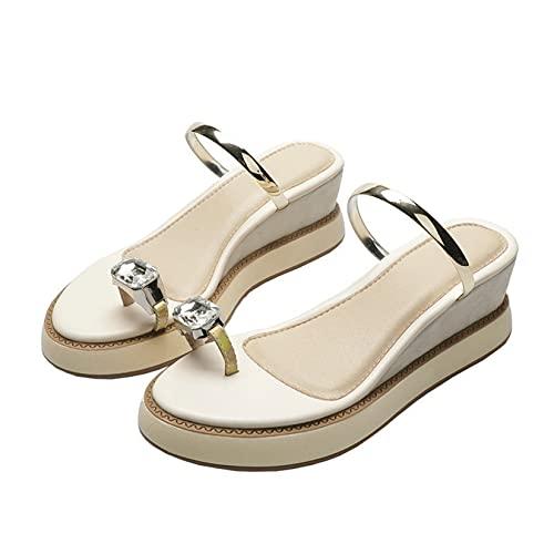 Sandalias de baño para mujer, zapatillas ligeras para piscina, verano, diamantes de imitación, Clip, dedo del pie, desgaste, elegantes, zapatos con plataforma de cuña para mujer