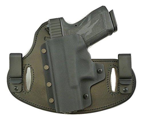 Hidden Hybrid Holsters, Glock 19,23,32,38 - Black Kydex/Black Leather- RH Draw