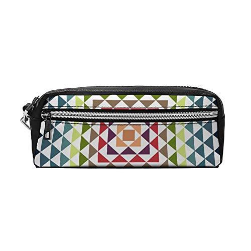 Kleurrijke Geometrische Driehoek Clip PU Lederen Potlood Case Make-up Tas Cosmetische Tas Potlood Tas met Rits Reizen Toilettas voor Vrouwen Meisjes