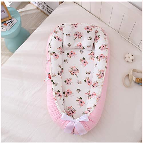 POEO Nido de Bebé 100% Algodón con Almohada, Cama de Viaje Portátil para Dormir, Tamaño Ajustable, Fácil de Limpiar para 0-18 Meses