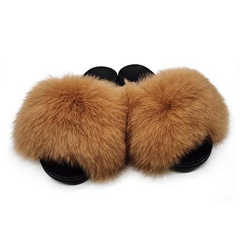 COQUI Slippers Men,Zapatillas peludas, Zapatillas de Piel de Zorro, Zapatos caseros Femeninos de Cuatro Estaciones, Pelo-marrón_43