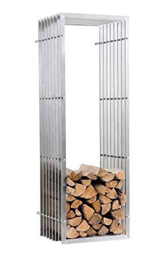 CLP Support Bois de Chauffage Irving, Porte-bûches Mural, Construction Stable, Rangement Bois Moderne Acier Inoxydable, 50 x 40 x 150 cm