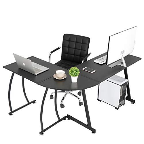 SUPER DEAL L-Shaped Corner Desk Computer Gaming Desk - Modern Home PC Table Office Writing Workstation, Black