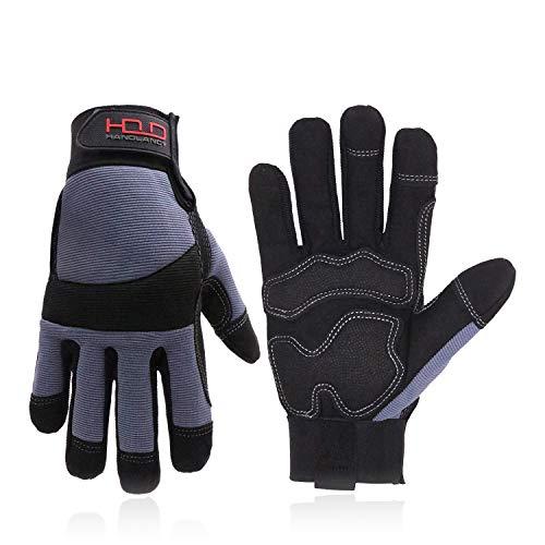HANDLANDY Stoßdämpfende Arbeitshandschuhe,Touchscreen Flexible Vibrationsschutzhandschuhe,Schutzhandschuhe mit Atmungsaktive Spandex,Packung mit einer Handschuheklammer