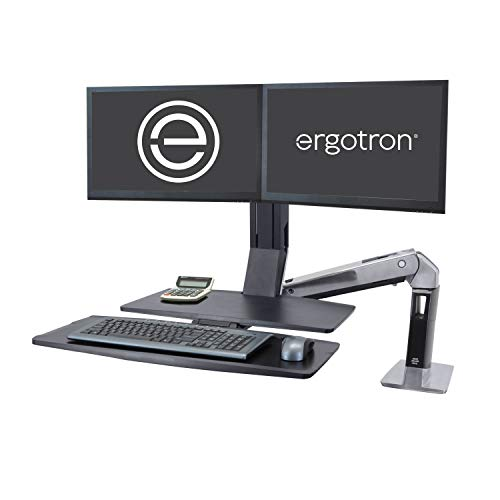 Ergotron - WorkFit-A Dual Workstation with Worksurface - for Tabletops - 23 Inches, Polished Aluminum