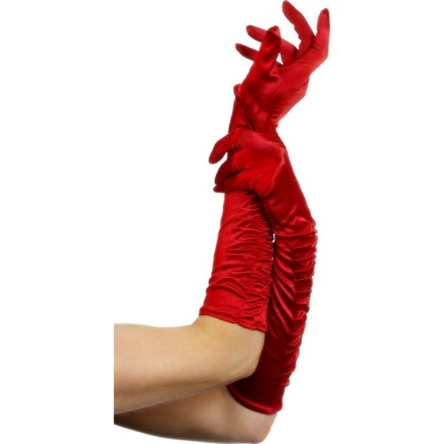 Smiffys Halloween Kostüm Zubehör Samt Handschuhe in rot 46cm zu Karneval