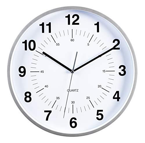 Kiera Grace Synchro Reloj de Pared, 30 cm, Plateado, 30.48 cm (12 Pulgadas), 1