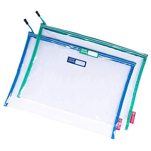 Rough Enough Large Clear File Folders Organizer Document Bag Zipper Pouch for Legal Letter Size A4 Paper Manila Folders Envelopes Home Office Storage School Art Supplies