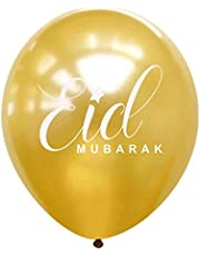 Eid Mubarak Balloon Pack of 10 for Eid Party Decorations (Gold)