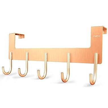 ACMETOP Over The Door Hook Hanger by, Heavy-duty Organizer for Coat, Towel, Bag, Robe - 5 Hooks, Aluminum, Brush Finish (Rose Gold)