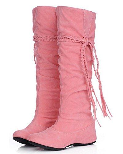 Minetom Herbst Und Winter Frauen Hohe Stiefel Mattoberflächen Höhe Erhöhen Schuhe Mit Quaste Rüschedekoration Rosa 39