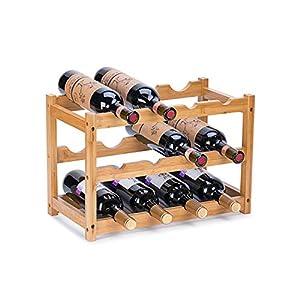 Wine Rack, Fostersource Natural Bamboo Storage Rack Freestanding Countertop Stackable Display Shelf Wine Bottle Holder (3-Tiers 12-Bottles)