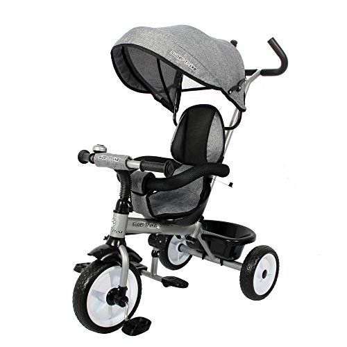 Ricco Kids Easy Steer Pedal Tricycle Buggy Stroller with Oxford Cloth XG18859 (GREY)