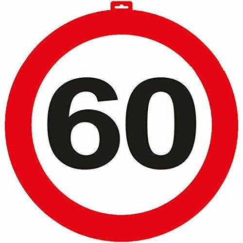Carpeta® - Riesen Verkehrsschild * Zahl 60 * ┃ Ø 47,5cm ┃ Deko 60. Geburtstag ┃ Türschild und Straßenschild ┃ Mit & ohne Aufhänger ✔