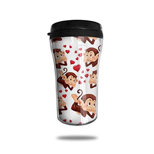 Taza de café reutilizable con diseño de mono con texto en inglés
