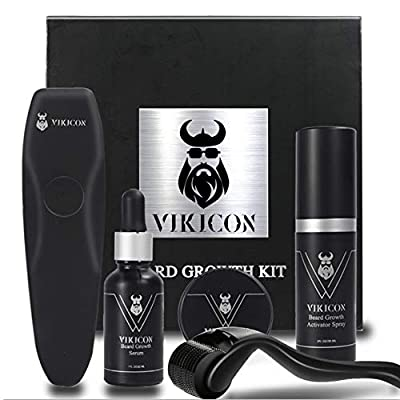 Beard Growth Kit, Beard Derma Roller Kit for Patchy Facial Hair Rapid Growth and Thickening, Beard Growth Spray, Beard Growth Serum, Beard Balm, Titanium Microneedle Roller Gift for Men from VIKICON