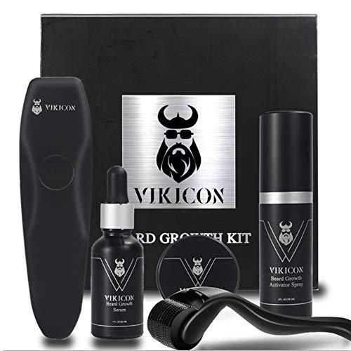 4Pcs Derma Roller - Kit de crecimiento de barba, rodillo de derma + spray de crecimiento de barba + aceite de suero para el crecimiento de la barba + bálsamo para barba, regalo para hombres