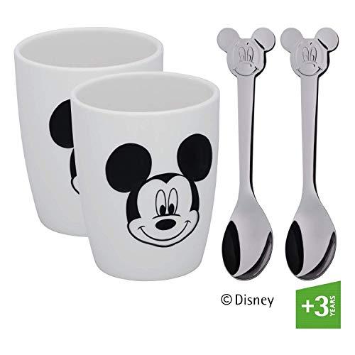 WMF Disney Mickey Mouse Lot de 2 Petites Tasses avec cuillère en Porcelaine Cromargan Poli, Porcelaine, argenté, 19 x 15 x 10 cm