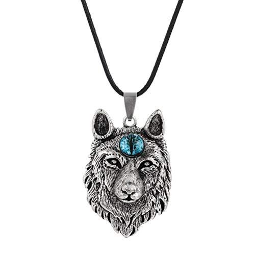 Settoo Collar de aleación con cabeza de lobo vikingo, para hombres y mujeres, colgante de animal gótico nórdico, collar de cordón de cuero con circón